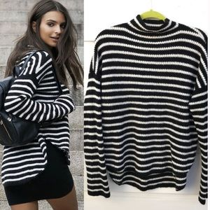 Express Black and white striped mock neck sweater